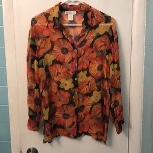 Sheer floral button up